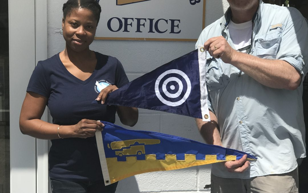 Burgee exchange with The Nahant Dory Club